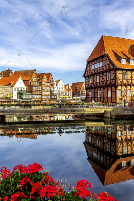 July 8, 2019: Half-timbered houses at old harbor- Lueneburg- Germany