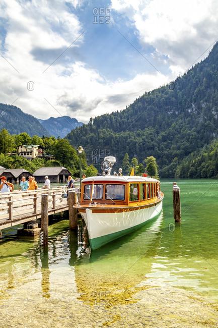 July 8, 2019: Moored tourist boat- Koenigssee-  Berchtesgadener Land- Germany