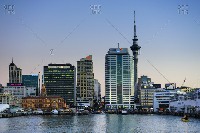 June 13, 2011: Skyline of Auckland at dusk- New Zealand