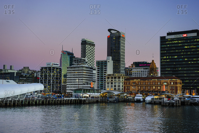 June 13, 2011: Skyline of Auckland at dusk- New Zealand