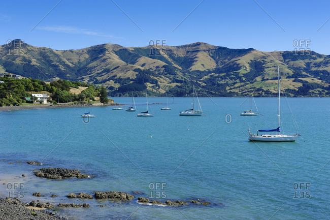 March 27, 2011: Sailboats in the Akaroa harbor- Banks Peninsula- South Island- New Zealand