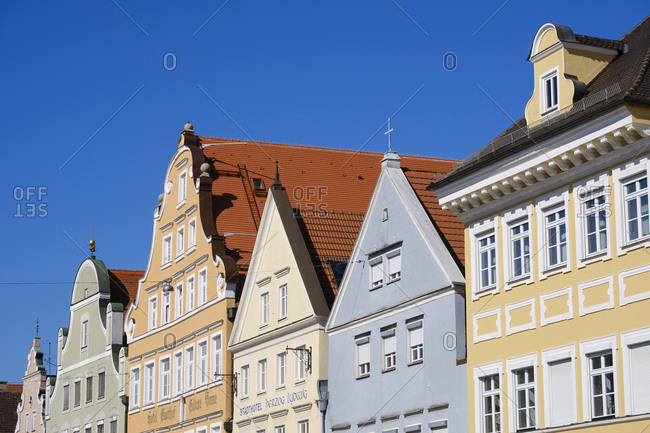 May 17, 2019: Row of houses- old town- Landshut- Bavaria- Germany
