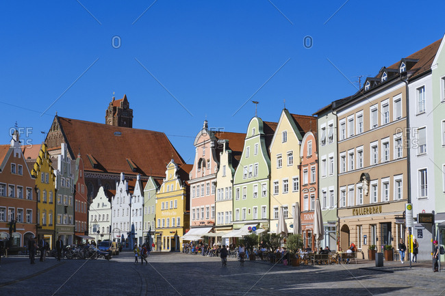 May 17, 2019: Old town and Church of the Holy Spirit- Landshut- Bavaria- Germany
