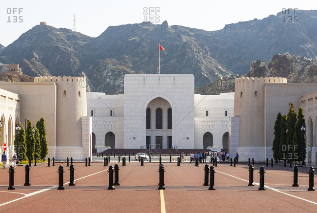 February 27, 2019: Al Alam square- National Museum- government district- Muscat- Oman