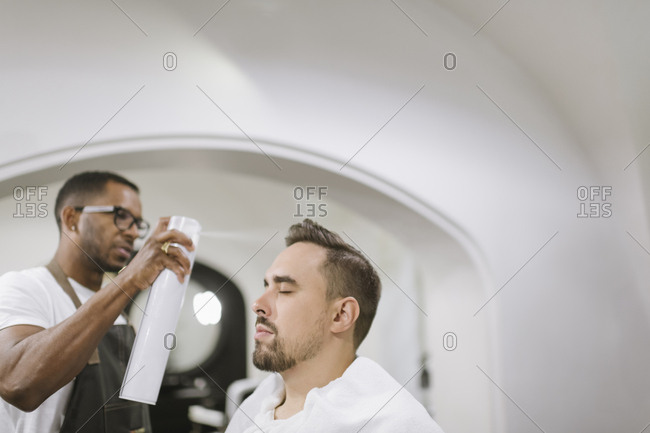 Customer in a barber shop