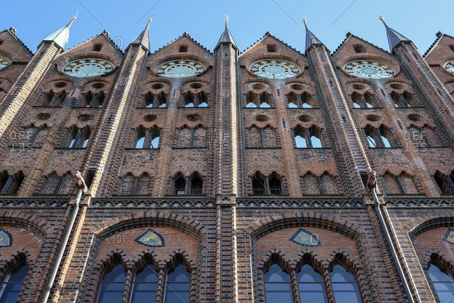 Germany- Stralsund- part of facade of historic town hall