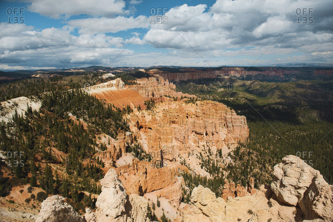 Scenic view of the pillar-like rock formations called hoodoos in Bryce Canyon at autumn- Utah- USA