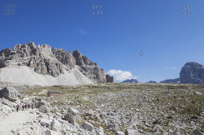 Lavaredo Hut at round trail- Tre Cime di Lavaredo Area- Nature Park Tre Cime- Unesco World Heritage Natural Site- Sexten Dolomites- Italy