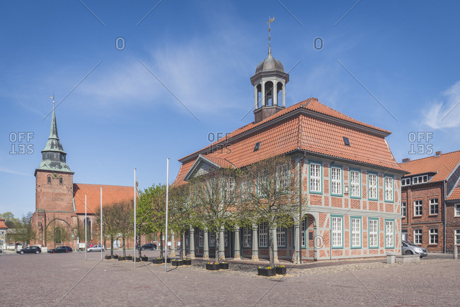 St. Mary church and town hall- Boizenburg- Mecklenburg-Western Pomerania- Germany