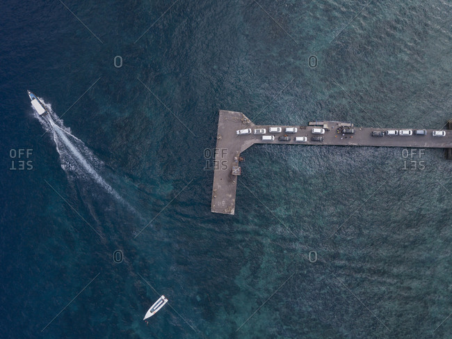 Aerial view of cars at the pier- Nusa Penida island- Bali- Indonesia