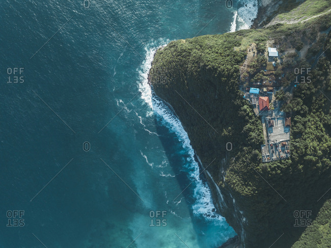 Aerial view of Balinese Hindu Temple- Kelingking Beach area- Nusa Penida island- Bali- Indonesia