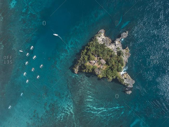 Aerial view of Batumejinong island- Crystal Bay at Nusa Penida Island- Bali- Indonesia