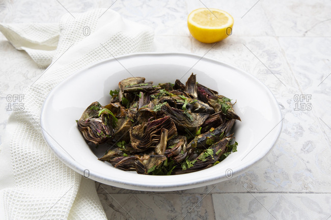 Italian artichoke with olive oil- parsley and lemon juice