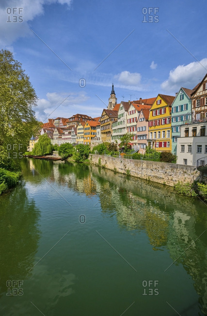 Houses at river Neckar- Tuebingen- Baden-Wuerttemberg- Germany