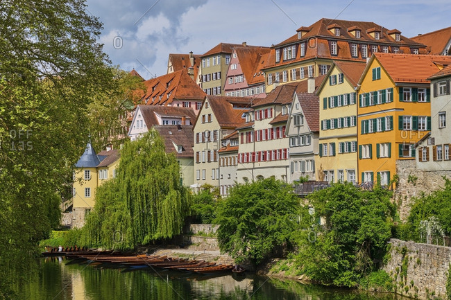 Houses at river Neckar and Hoelderlin tower- Tuebingen- Baden-Wuerttemberg- Germany