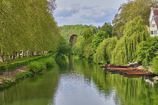 Punt boats on River Neckar- Tuebingen- Baden-Wuerttemberg- Germany