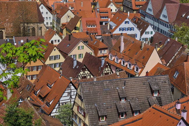 Townscape from above- Tuebingen- Baden-Wuerttemberg- Germany