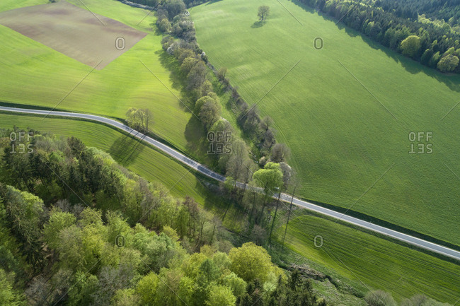 Aerial view of rural road through landscape with agricultural fields and forest- springtime- Franconia- Bavaria- Germany