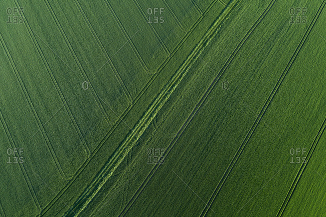 Aerial View of abstract landscape with agricultural fields with tire tracks- springtime- Franconia- Bavaria- Germany