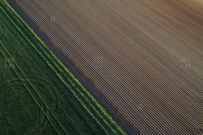 Aerial View of abstract landscape with agricultural fields- springtime- Franconia- Bavaria- Germany