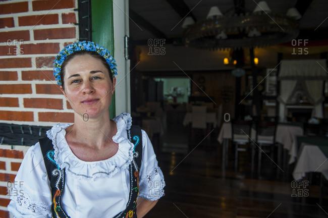 Traditional dressed woman in the German town Pomerode near Blumenau- Brazil