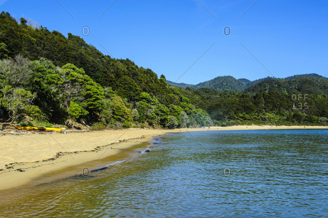 Long sandy beach- Abel Tasman National Park- South Island- New Zealand