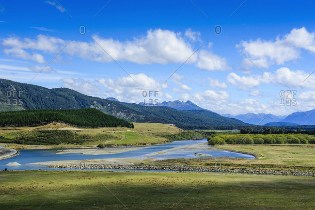 Waiau river and the Southern Alps along the road from Invergargill to Te Anau- South Island- New Zealand