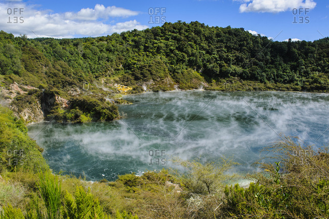 Frying Pan Lake- largest hot spring in the world- Waimangu Volcanic Rift Valley- North Island- New Zealand