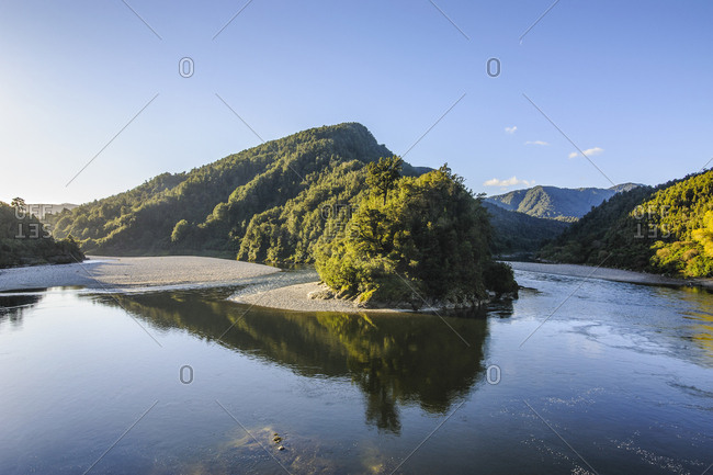 Beautiful Buller River in the Bulller Gorge- along the road from Westport to Reefton- South Island- New Zealand