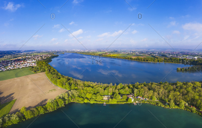 Altheim reservoir- Isar- pond in local recreation area Gretlmuehle- near Landshut- Bavaria- Germany- drone shot