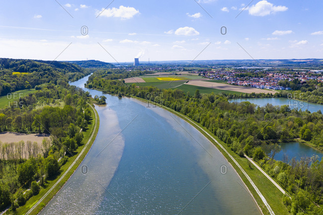 Isar at Woerth an der Isar- Isar Nuclear Power Plant in background- Bavaria- Germany- drone shot