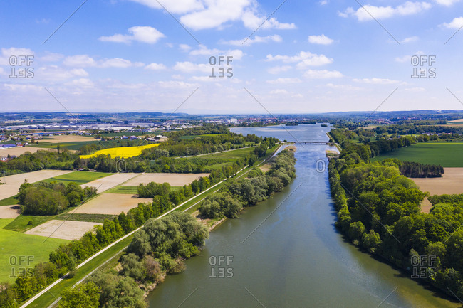 Isar and Dingolfing reservoir- near Dingolfing- Bavaria- Germany- drone shot