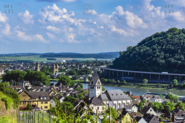 Germany- Rhineland-Palatinate- View to Leutesdorf and Andernach at River Rhine