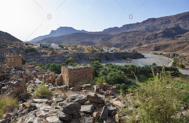Oman- Ad Dakhiliyah Governorate- Az Zuwayhir- Ruin city Riwaygh as Safil- palm grove