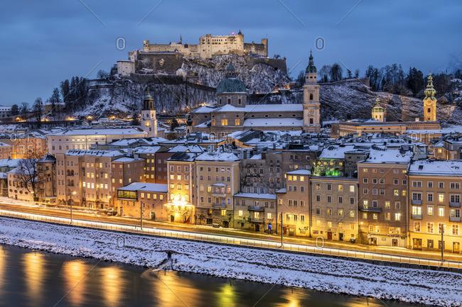 Austria - January 26, 2019: Old town skyline at dusk, Salzburg, Austria