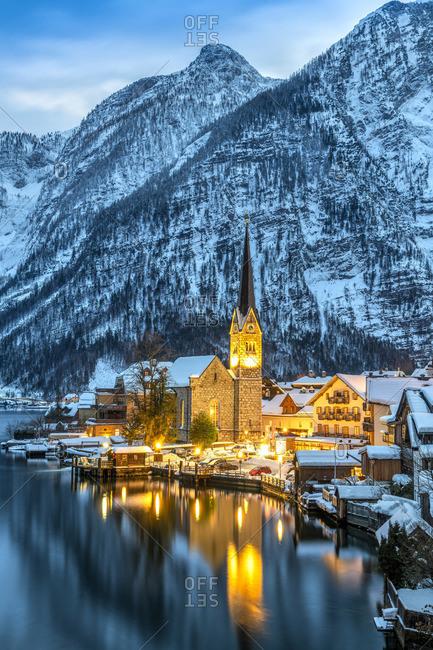 Austria - January 27, 2019: Hallstatt, Upper Austria, Austria
