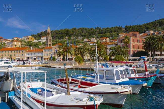 Croatia - June 7, 2019: Hvar Town and Harbor, Hvar, Dalmatian Coast, Croatia, Europe