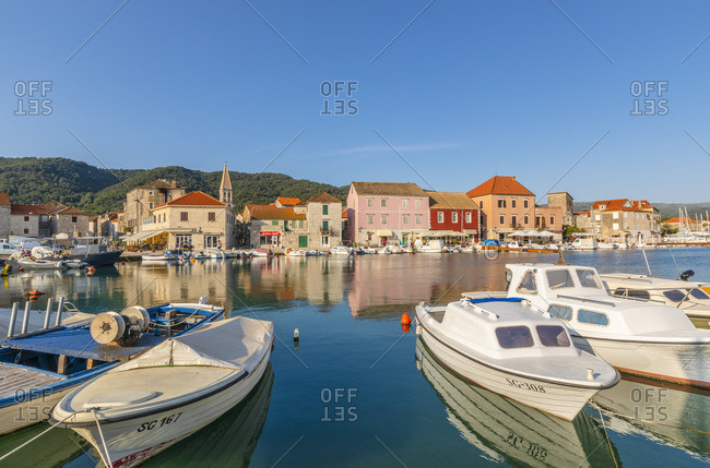 Croatia - June 7, 2019: Stari Grad Harbor, Hvar, Dalmatian Coast, Croatia, Europe