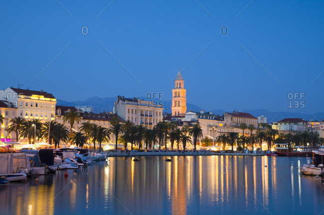 Croatia - June 10, 2019: Split Harbor with Cathedral of Saint Domnius, Split, Dalmatian Coast, Croatia, Europe