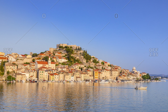 St. Michael's Fortress and Sibenik Harbor, Sibenik, Dalmatian Coast, Croatia, Europe