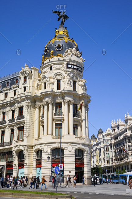 Spain - April 29, 2019: Exterior of Metropolis Building, Madrid, Spain