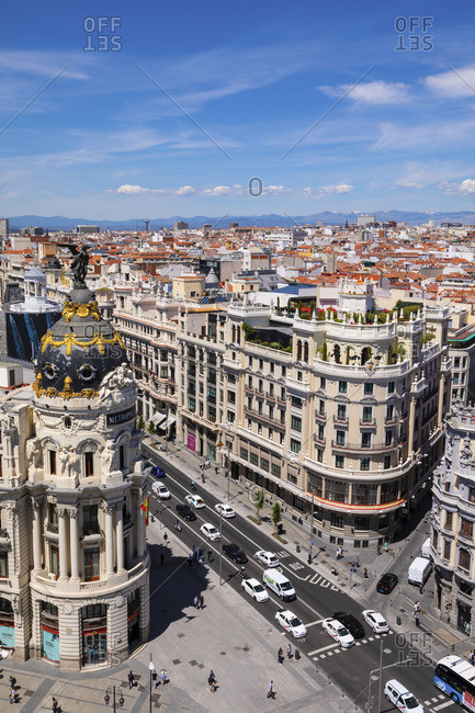 Spain - April 29, 2019: Elevated View of Metropolis Building, Grand Via and Madrid, Madrid, Spain