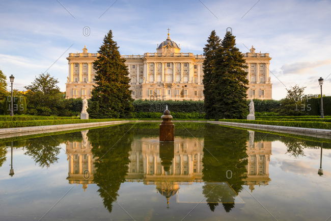 The Exterior of The Royal Palace from the Sabatini Gardens, Madrid, Spain