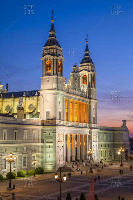 Spain - April 30, 2019: Exterior of Almudena Cathedral at Sunset, Madrid, Spain