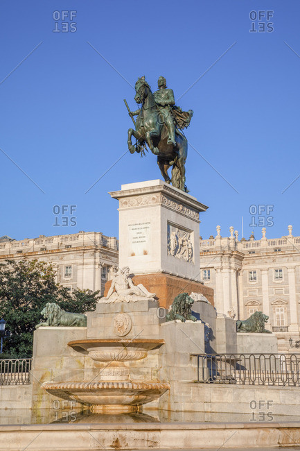 Monument to Philip lV in the Plaza de Oriente, Madrid, Spain