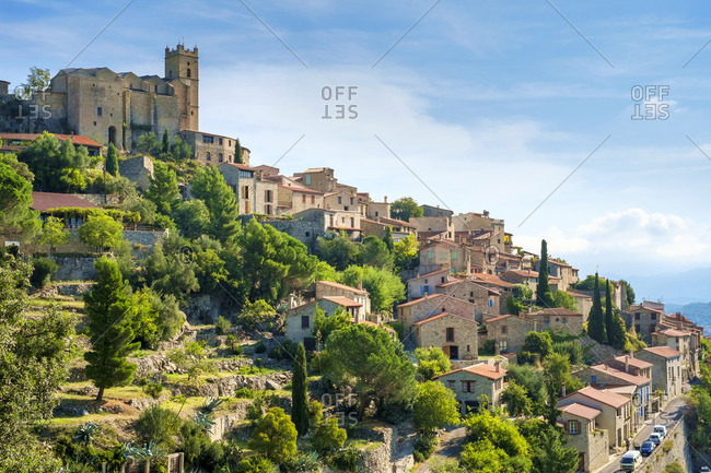 Hilltop town of Eus, Pyrenees-Orientales, Languedoc-Roussillon, France.