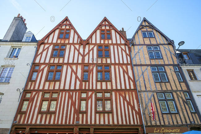 France - March 6, 2014: Old wooden half-timbered houses, Tours, Indre-et-Loire, Centre, France.