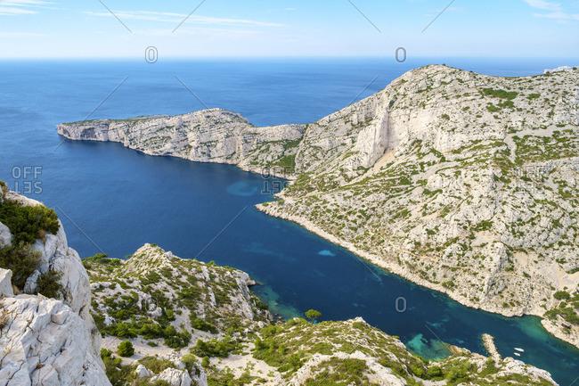 High angle view of rugged Mediterranean landscape at Calanque de Sugiton, Parc National des Calanques, Provence-Alpes-Cote d'Azur, Bouches-du-Rhune, France