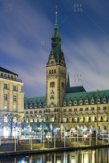 Germany - December 30, 2013: View of Hamburg Rathaus (Town Hall) at night, Hamburg, Germany, Europe.