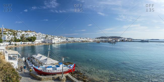 Greece - June 12, 2019: Harbor in Mykonos Town, Mykonos, Cyclade Islands, Greece